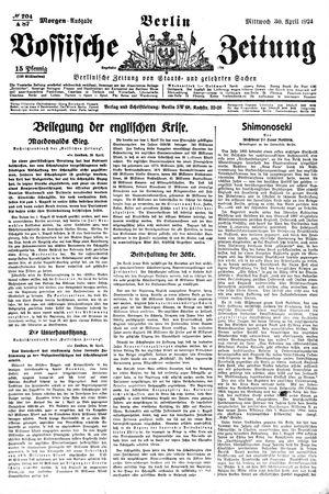 Vossische Zeitung vom 30.04.1924