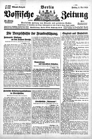 Vossische Zeitung vom 02.05.1924