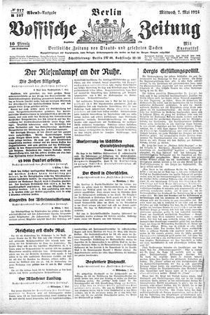 Vossische Zeitung vom 07.05.1924