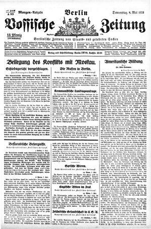Vossische Zeitung vom 08.05.1924