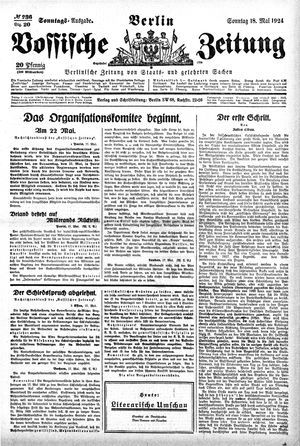 Vossische Zeitung vom 18.05.1924