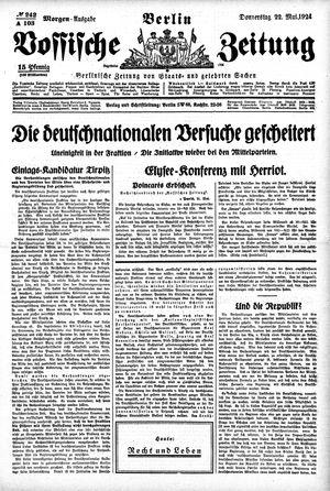Vossische Zeitung vom 22.05.1924