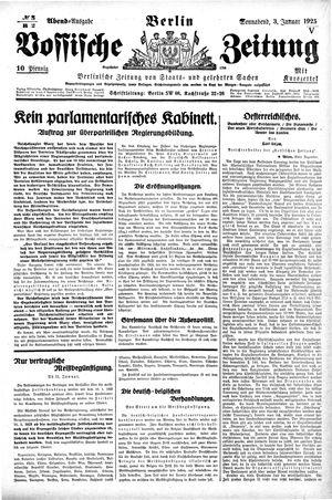 Vossische Zeitung vom 03.01.1925
