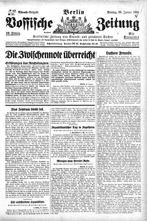 Vossische Zeitung vom 26.01.1925
