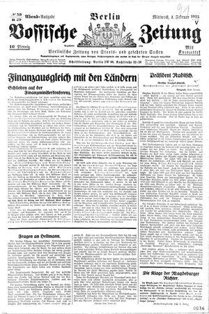 Vossische Zeitung vom 04.02.1925