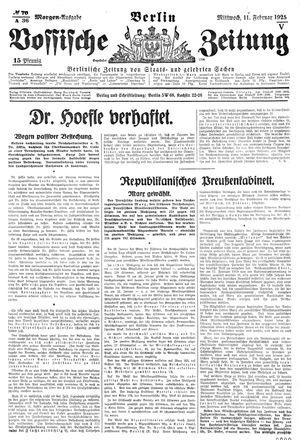Vossische Zeitung vom 11.02.1925