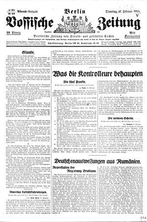 Vossische Zeitung vom 17.02.1925