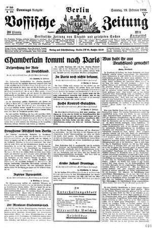 Vossische Zeitung vom 22.02.1925