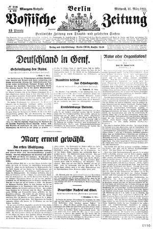 Vossische Zeitung on Mar 11, 1925