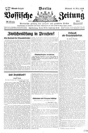 Vossische Zeitung vom 18.03.1925