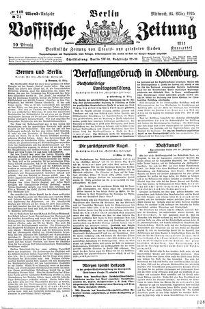 Vossische Zeitung vom 25.03.1925