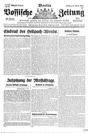 Vossische Zeitung on Mar 27, 1925