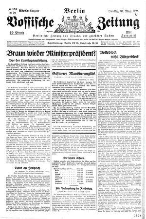 Vossische Zeitung vom 31.03.1925