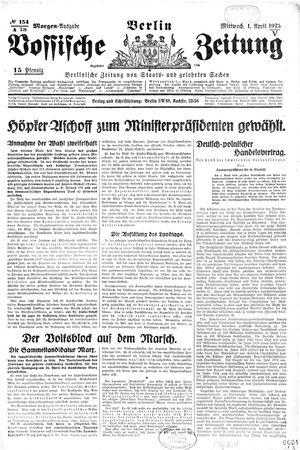 Vossische Zeitung vom 01.04.1925