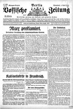 Vossische Zeitung on Apr 4, 1925