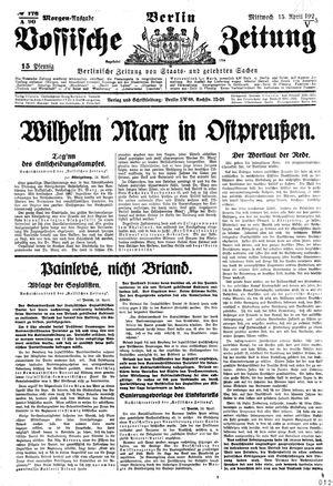 Vossische Zeitung vom 15.04.1925