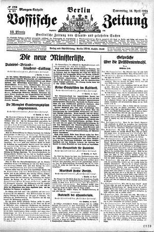 Vossische Zeitung vom 16.04.1925