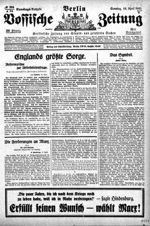 Vossische Zeitung vom 19.04.1925