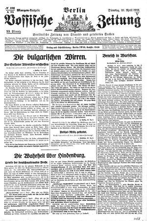 Vossische Zeitung vom 21.04.1925