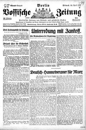 Vossische Zeitung vom 22.04.1925