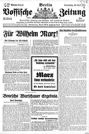 Vossische Zeitung vom 23.04.1925
