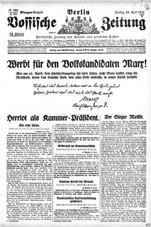 Vossische Zeitung vom 24.04.1925