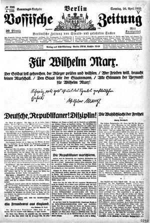 Vossische Zeitung on Apr 26, 1925