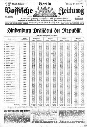 Vossische Zeitung vom 27.04.1925