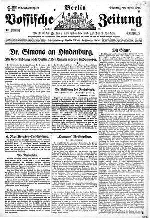 Vossische Zeitung vom 28.04.1925