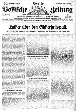 Vossische Zeitung vom 29.04.1925