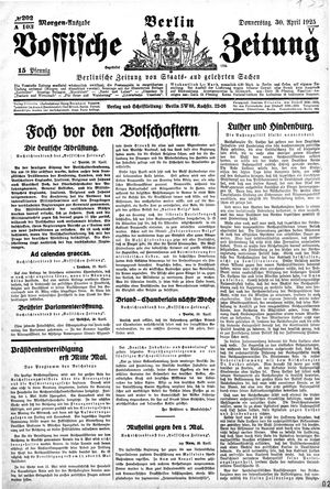 Vossische Zeitung vom 30.04.1925