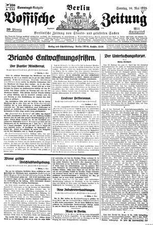 Vossische Zeitung vom 10.05.1925