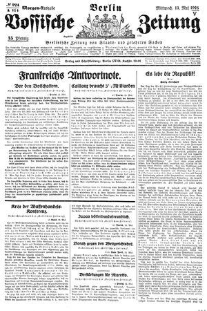 Vossische Zeitung vom 13.05.1925