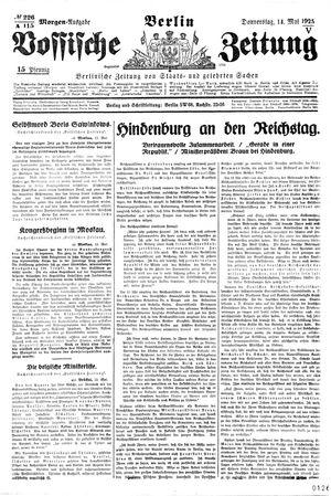 Vossische Zeitung vom 14.05.1925