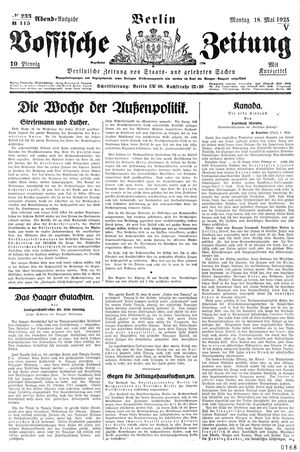Vossische Zeitung vom 18.05.1925