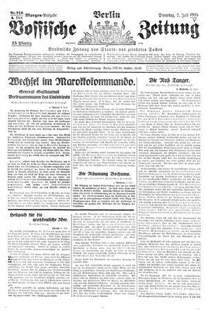 Vossische Zeitung vom 07.07.1925