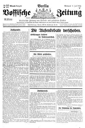 Vossische Zeitung vom 08.07.1925