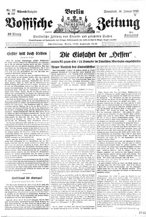 Vossische Zeitung on Jan 16, 1926
