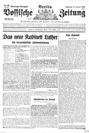 Vossische Zeitung vom 17.01.1926