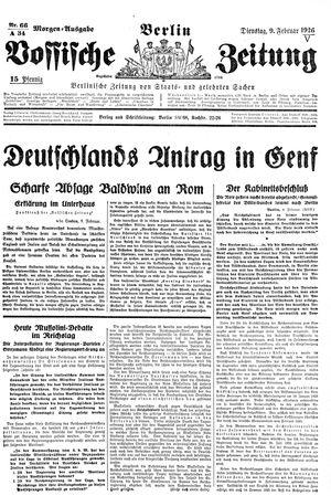 Vossische Zeitung on Feb 9, 1926