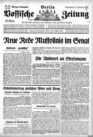 Vossische Zeitung on Feb 11, 1926