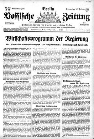 Vossische Zeitung vom 18.02.1926