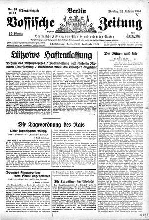 Vossische Zeitung vom 22.02.1926