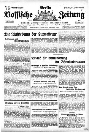 Vossische Zeitung vom 23.02.1926