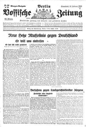 Vossische Zeitung on Feb 27, 1926