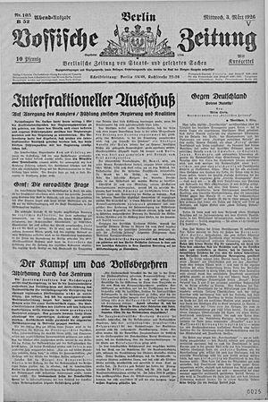 Vossische Zeitung vom 03.03.1926