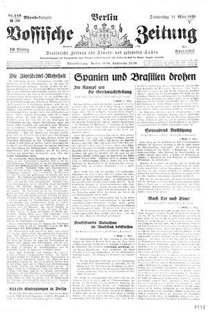Vossische Zeitung on Mar 11, 1926