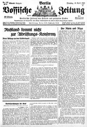 Vossische Zeitung vom 13.04.1926