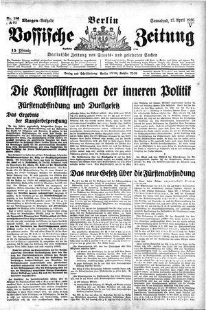 Vossische Zeitung vom 17.04.1926