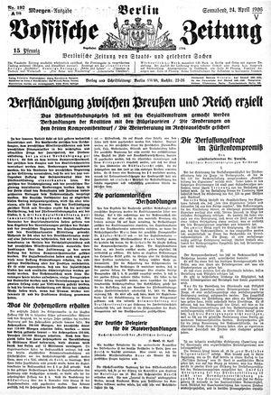 Vossische Zeitung on Apr 24, 1926